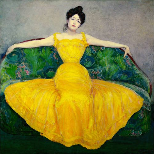 Poster 50 x 50 cm: Frau in Einem gelben Kleid von Maximilian Kurzweil - Hochwertiger Kunstdruck,...