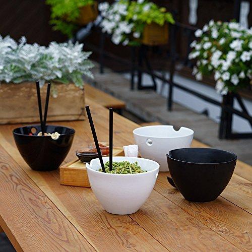 Kenley Cuenco de Fideos Sopa y Arroz - Grandes Tazones para Ramen Udon Miso Pho Curry Tailandés Japonés Asiático Chinos - Set de 2 Boles de Porcelana, Palillos de Bambú y Cucharas de Cerámica