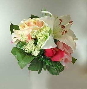 Country Baskets artificielles Bouquet Belle, Rose pâle