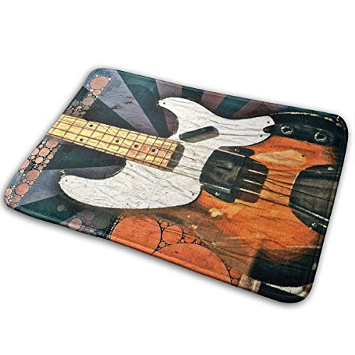 shenhaimojing Vintage Bass Guitar Pop Art Entrance Mat Floor Mat Home Decor Carpet Indoor Rectangle Doormat Kitchen Mats 15.7x23.6 inch/60x40cm (Pro-bass-geschenk-karte)