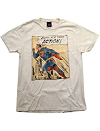 Junk Food Superman DC Comics Down for Action Comic Vintage Style Adult T-Shirt