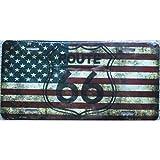 Unbekannt–D Nummernschild Route 66auf Flagge der USA