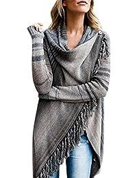 df2e85bf9bf638 Petalum Damen Jacke Winter Herbst Warm Elegant Lady Langarm Fransen Quasten  Lässig Asymmetrisch Stricken Stola Schal Jacken Outdoor…