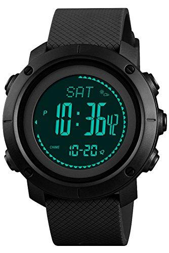 Altímetro de Hombre Barómetro Brújula Digital Deportes Reloj Podómetro Multifunción Actividad Tracker
