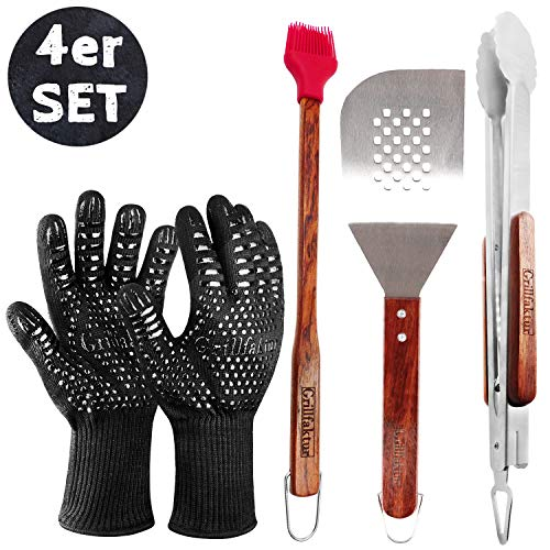rtiges Grillbesteck Set 4-teilig - Lange Edelstahl Grillzange (45 cm) + Grillwender (38 cm) + Grillpinsel (42 cm) + Grill-/Ofenhandschuhe (1 Paar) - Geschenk Set für Männer. ()