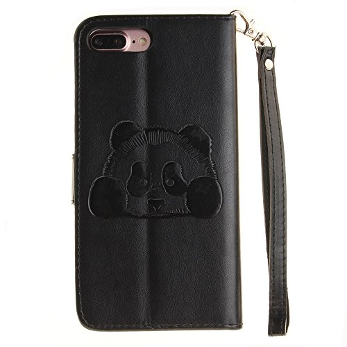 iPhone Case Cover Solid Color 3D Cute Panda Embossed Housse en cuir PU avec Lanyand Card Slots pour IPhone 7 Plus ( Color : 1 , Size : IPhone 7 Plus ) 5