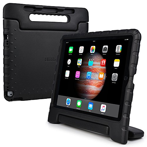 iPad Pro 12.9 hülle fur kinder, COOPER DYNAMO Beanspruchbare, strapazeirfähige, robuste, gepolsterte Hartschalenhülle mit integriertem Griff, Standfunktion & durchsichtigem Displaysschutz (Schwarz)