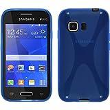 PhoneNatic Funda de silicona para Samsung Galaxy Young 2 - X-Style azul - Cover Cubierta + protector...