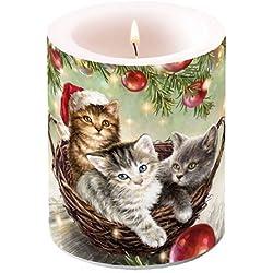Ambiente Weihnachten Kerze Katzen in a Basket 7,6cm Stumpenkerze 12cm Hoch