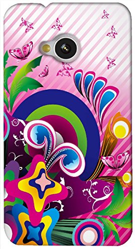 Rebel Multicolor colorful butterfly Art Work printed protective back cover for HTC One M7  available at amazon for Rs.199