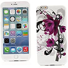"Kit Me Out ES Funda de Gel TPU para Apple iPhone 6 Plus 5.5"" pulgadas - Negro / Blanco / Violeta Flores"