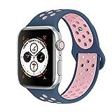 Tervoka Compatible with Apple Watch Correa 44mm 42mm, Banda Pulsera Brazalete de Repuesto de Silicona Suave Deportivo para iWatch Series 4/3/2/1, Tamaño S/M, Oceanblue/Lightpink