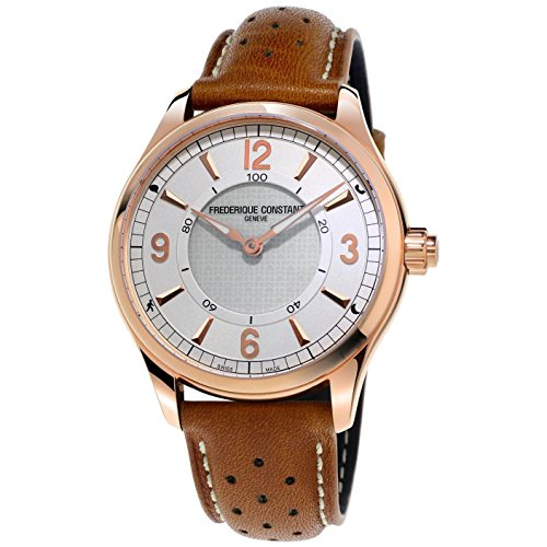 Frederique Constant Men's Smartwatch 42mm Leather Band Rose Gold Plated Case Quartz Watch FC-282AS5B4
