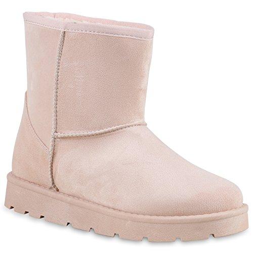 Damen Stiefeletten Stiefel Kunstfell Schlupfstiefel Boots Rosa