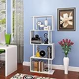 Bücherregal 4-stöckige Holzboden Stehend S-Form Trennwand Wohnzimmer Studie Küche Ausstellungsstand Blume Stand Schrank (Farbe : Weiß)