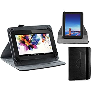 Navitech Black Faux Leather Hard Case Cover With 360 Rotational Stand For Aluratek CINEPAD