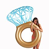 "Diamond Swimming Ring,Inflatable Bling Ring Pool Cup holder Floats,Swim Pool Float Great for Bachelorette or Engagement Parties Summer Beach Circle for kids Adult-55""x47"""
