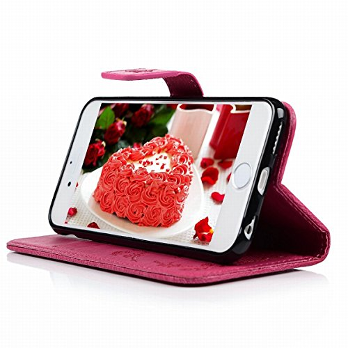 Custodia per Apple iPhone 6 Plus / iPhone 6S Plus (5.5 pollice), HB-Int 3 in 1 Rose Red PU Cuoio Cristallo Strass Copertura Farfalla Fiore Elegante Stampa Caso con Lanyard Protettiva Flip Wallet Cover Rose Red