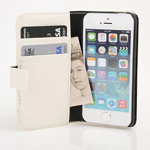 Madcase Apple iPhone SE / 5S / 5 Schutzhülle Ledertasche mit Kartenfach Premium Design Case Tasche Portemonnaie PU Leder Hülle - Orange Krokodil - Weiß