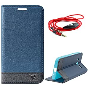 Dmg Praiders Wallet Stand Case For Samsung Galaxy Core 2 (Pebble Blue) + 3.5Mm Flat Aux Cable With Mic
