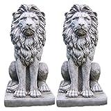 Garden Ornaments von onefold LS5Großer Stolz Löwe Löwen Paar Stone Garden Statue, grau, 52x 42x 88cm
