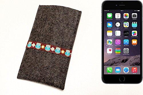 """flat.design Filzhülle """"Lisboa"""" für Apple iPhone 6 Plus - passgenaue Handytasche aus 100% Wollfilz (anthrazit) - made in Germany Schutz Case für Apple iPhone 6 Plus Eule - anthrazit"""