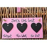 Little Miss Scrabbled–personalizado hecho a mano rosa pérdida de peso con pizarra con texto en inglés cuenta atrás–uso con reductora World Weightwatchers dietas