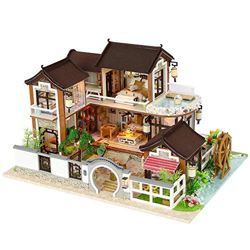DIY Puppenhaus - Zhi Qu Haus Miniatur Möbel Mini Kabine Handgemachte Dekorative Lichter Und Home Crafts Sets Mädchen Mode Einfache Duplex Villa Loft Kreative Geschenk Modell (Dream Back Town),PackageA