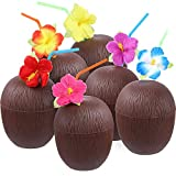 Uteruik Kunststoff Kokosnuss Becher Hawaii-Party Trinkbecher mit Blumenhalmen für Strand Mottoparty Supplies 6 Stück