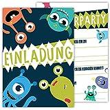 12 Lustige Einladungskarten im Set für Kindergeburtstag Party mit Monster für Jungen Mädchen Kinder Top Geburtstagseinladungen Karten Monsterparty Einladung farbenfroh Alien witzig