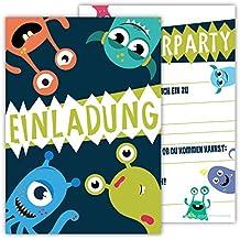 12 Lustige Einladungskarten Im Set Für Kindergeburtstag Party Mit Monster  Für Jungen Mädchen Kinder Top Geburtstagseinladungen