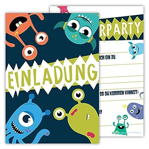 12 Lustige Einladungskarten im Set für Kindergeburtstag Party mit Monster für Jungen Mädchen Kinder Top Geburtstagseinladungen Karten Monsterparty Einladung farbenfroh Alien