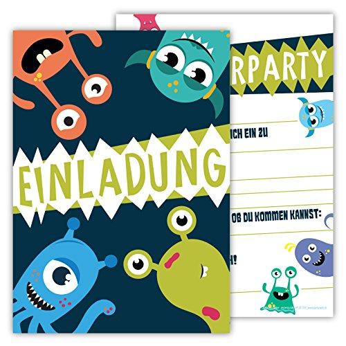 12 Lustige Einladungskarten im Set für Kindergeburtstag Party mit Monster für Jungen Mädchen Kinder Top Geburtstagseinladungen Karten Monsterparty Einladung farbenfroh Alien (Grüne Kostüm Mädchen Monster)
