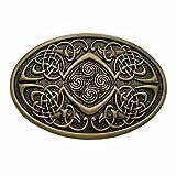 YONE Fibbia per Cinture Celtic Knot Oval Belt Buckle Bronze