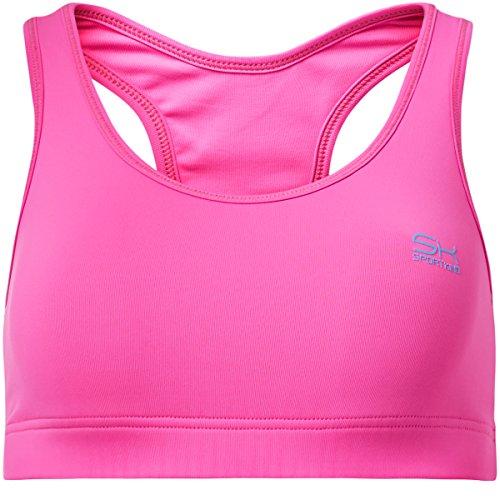 Sportkind Mädchen & Damen Sport/Tennis/Fitness BH mittlerer Halt, neon pink, Gr. S