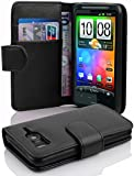 Cadorabo - Book Style Wallet Design for HTC DESIRE HD with 2 Card Slots and Money Pouch - Etui Case Cover Protection in OXID-BLACK
