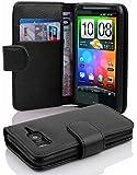 Cadorabo - Book Style Hülle für HTC Desire HD - Case Cover Schutzhülle Etui Tasche mit Kartenfach in OXID-SCHWARZ