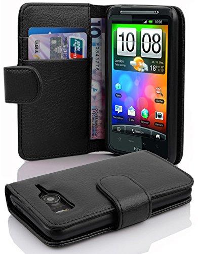 Cadorabo Coque pour HTC Desire HD, Noir DE Jais Fermoire Magnétique Housse de Protection Etui Portefeuille Case Cover pour HTC Desire HD - Stand Horizontal et Fente pour Carte Poche Folio