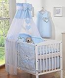 Ciel de lit en voilage Coeur bleu - Fabrication européenne