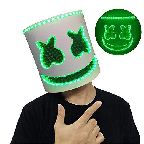 Uhoolee Marshmello Maske Helm,LED Musik Festival HelmeNachtclub Latex Weiße Maske,Cosplay Kostüm Helm + LED-Sport-Schnürsenkel ()