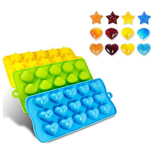 Cisixin 3 Stück Silikon Formen Eiswürfel,Bonbons, Schokolade,Fondant Formen - Herzen, Sterne und Schale