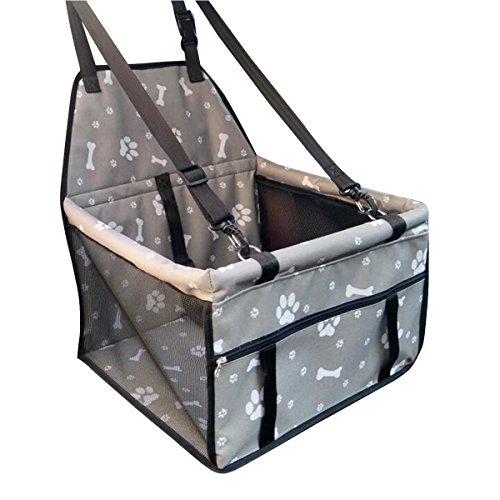 Hunde Autositz, Flying Beauty Portable Haustier Autositzbezug Auto Sitzerhöhung mit Clip-On Sicherheitsleine und Reißverschluss Aufbewahrungstasche für kleine und mittlere Haustiere bis zu 20 lbs (Graue Knochen Pfote)