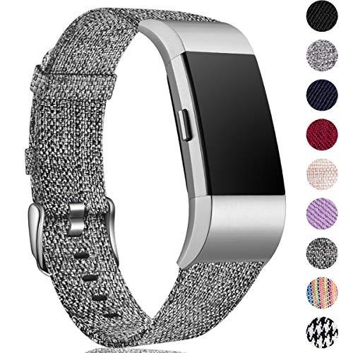 HUMENN Kompatibel für Fitbit Charge 2 Armband, Atmungsaktiv Ersatzband Gewebte Stoff Armbänd für Fitbit Charge 2 Tracker, klein Schwarz Grau