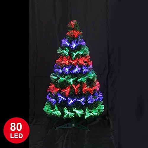 Autour de Minuit 5SAF144MC Las Vegas de fibra óptica árbol de Navidad con 80 LED multicolor 90 cm