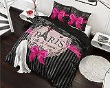 Bettwäsche Sleeptime Baumwolle I Love Paris, 240cm x 220cm, Mit 2 Kissenbezüge 60cm x 70cm, Rosa