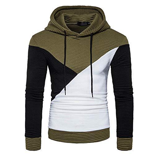 Xmiral Kapuzen-Pullover Herren Patchwork Falten Lose Kapuzensweatshirt Hoodies Kordelzug Slim Fit(3XL,Armee Grün)