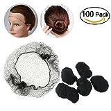 OULII Filets de cheveux 100pcs bord élastique Invisible maille Déguisements accessoires (noir)