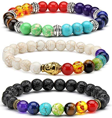 3x Buddha Armband 7 Chakra Stone Meditation Mala Buddhistisches Gebet Zen Buddhismus Reiki Energy Healing Therapie Yoga Armbänder