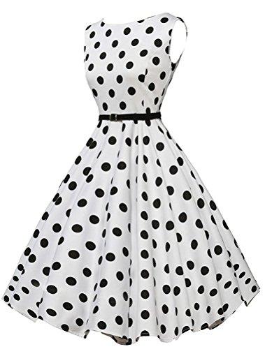 MatchLife Femme Vintage Pin-up robe de Soirée Cocktail Dot Blance