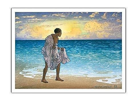 Pêcheur Hawaïen (Lawai A) Lance Son Filet - Vintage bois